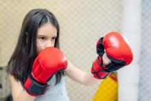 Little Cute Girl In Boxing Glo...