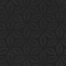 Black Seamless Texture With Leaves Pattern On Background, Embossed Paper, 3d Illustration