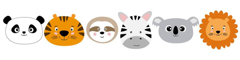 Cute cartoon characters animals panda, tiger, sloth, zebra, koala, lion kawaii flat style.