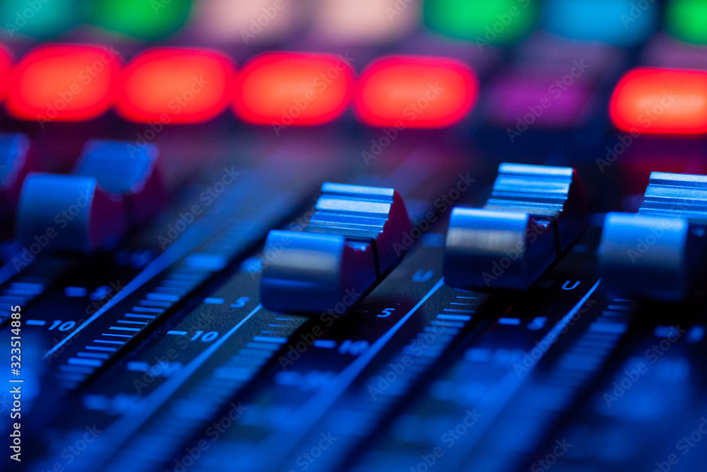 Fototapeta Volume control of the soundboard in blue light
