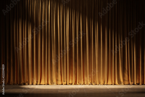 Carta da parati Theater stage with golden curtains and spotlights