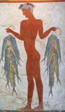 Wall Painting Of A Young Fisherman Holding String Of Fish  From Minoan Settlement Of Akrotiri On Santorini, Greece