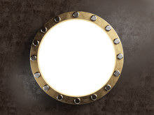 Old Marine Porthole With Brass Border. Clipping Path Included. 3d Illustration