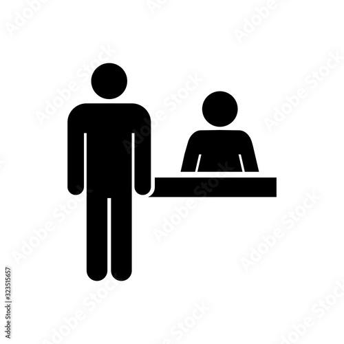 Tablou Canvas Reception symbol, check out icon, customer service desk sign – stock vector