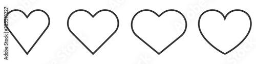 Fototapeta Set of Heart outline icons. Vector Hearts. obraz