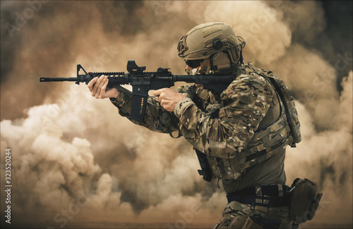 Cuadros en Lienzo Military forces between smoke and gas in battle field