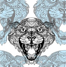 Seamless Pattern With Leopards. Doodling, Mandala Pattern. Drawing By Hand. Stylish Background. Indian Style.