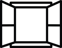 Window Icon, Vector Line Illus...