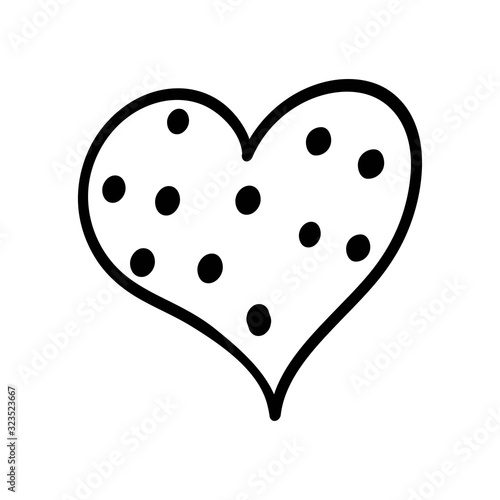 Hand drawn black polka dot heart Wallpaper Mural