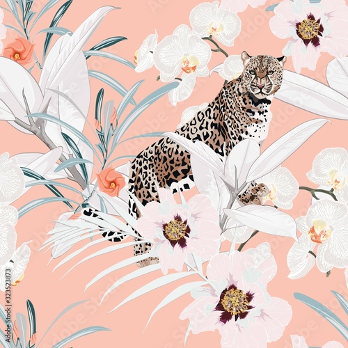 Colorful floral pattern with tiger leopard and exotic tropical leaves illustration Tableau sur Toile