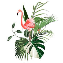 Fototapeta Liście Paradise pink flamingo birds with exotic leaves. Card template composition. Detailed vector design illustration. Valentine. Wedding. Poster.