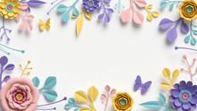3d Render, Horizontal Floral F...