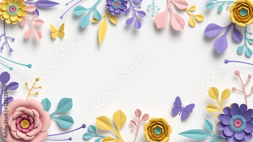 Obraz kwiaty   3d-render-horizontal-floral-frame-with-copy-space-abstract-cut-paper-flowers-isolated-on