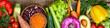 Leinwanddruck Bild - Healthy food background. Fresh vegetables, fruits, beans and lentils on wooden table. Vegetarian and vegan food. Healthy eating concept. Long format