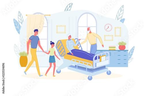 Family Visiting Sick Senior Relative in Hospital.
