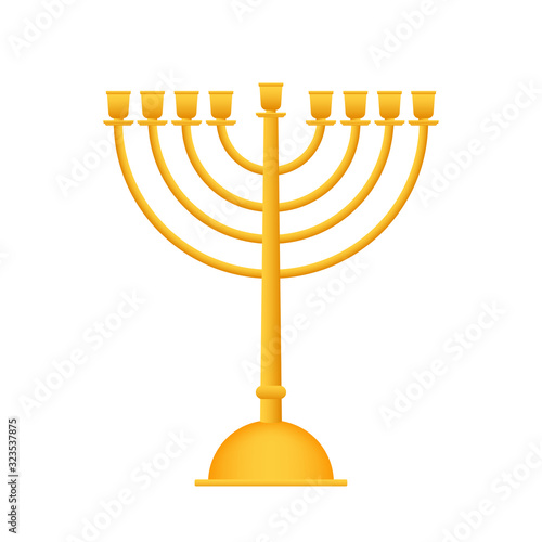 Photo Realistic Gold Hanukkah menorah icon on white background
