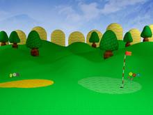 Cartoon Golf Course - 3D Illus...