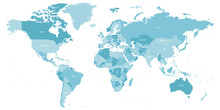Map Of World In Shades Of Blue...