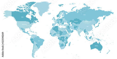 Map of World in shades of blue. High detail political map with country names. Vector illustration