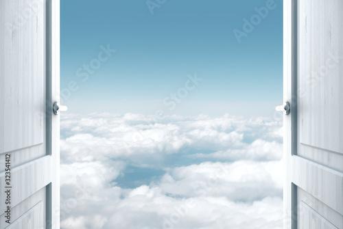 Fototapeta Room with open door to blue sky view obraz