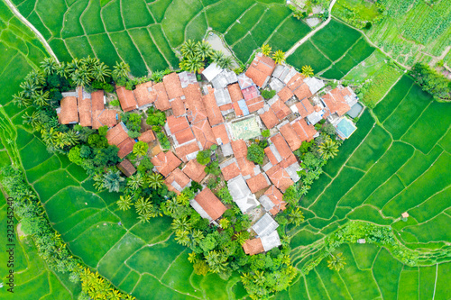 Top down view of village and green rice field