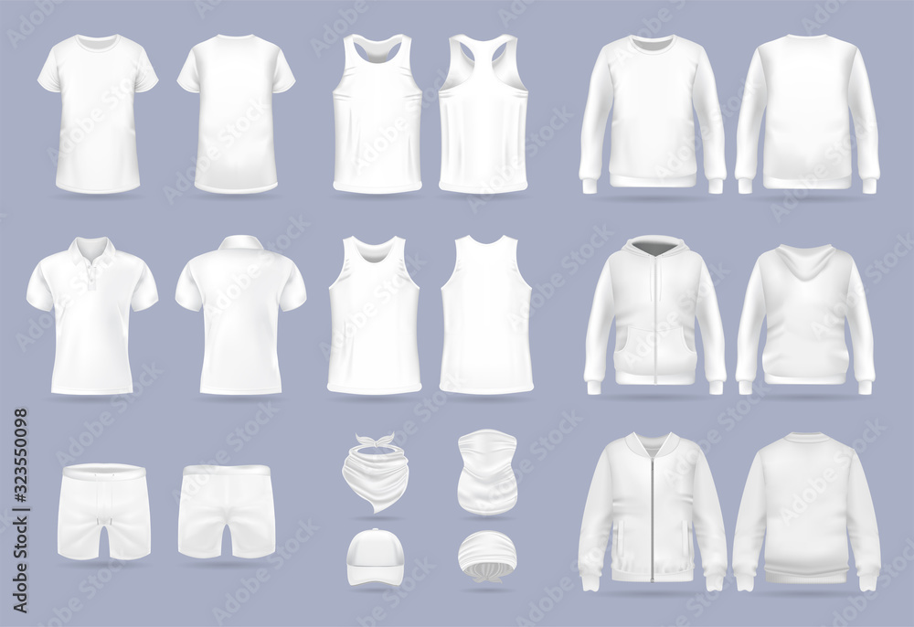 Fototapeta Blank white collection of men's clothing templates. T-shirt, hoodie, sweatshirt, short sleeve polo shirt, jacket bomber, head bandanas and cap, tank top, neck scarf and buff. Realistic vector mock up