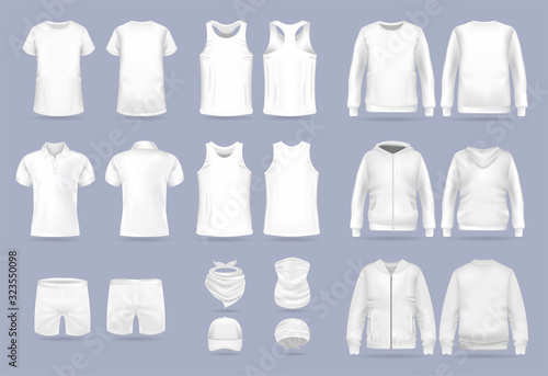 Fotomural Blank white collection of men's clothing templates