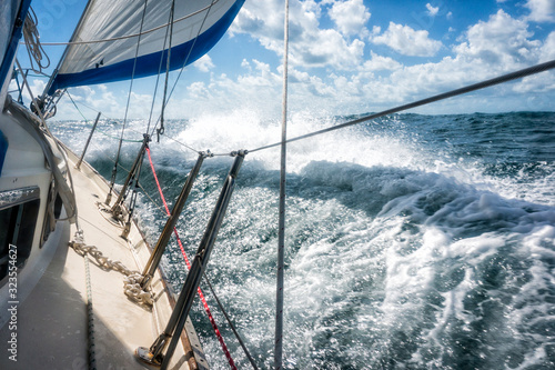Fotografia Rough seas during sailing crossing large crashing waves seasick passengers test