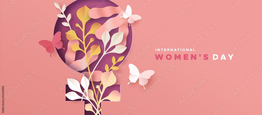 Fototapeta Women's day pink papercut nature symbol card