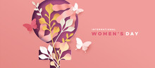 Women's Day Pink Papercut Natu...