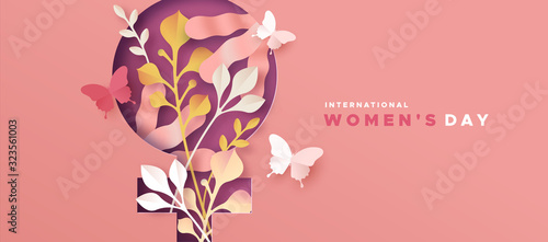 Women's day pink papercut nature symbol card