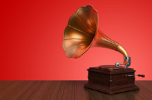 Vintage Gramophone On Wooden B...