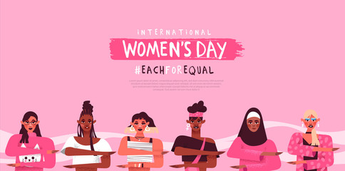 Women's day each for equal diversity web template