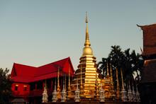 Buddhist Golden Stupa And Mona...