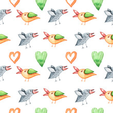 Cute Birds On White Background. Watercolor Hand Painted Kids Seamless Pattern. Can Be Used For Scrapbooking Paper, Design Wrapping Paper, Packaging, Fabric, Background