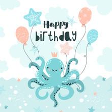 Cute Octopus. Happy Birthday.