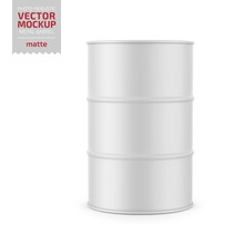 White Matte Metal Barrel Mocku...