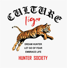 Typography Slogan With Tiger I...