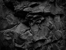 Black White Stone Background. Mountain Close-up. Beautiful Rock Texture. Detail. Volumetric Rocky Background. 3D Effect.