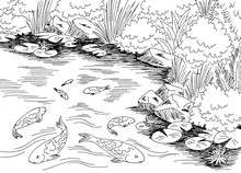 Pond Koi Carp Fish Graphic Bla...