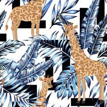 Blue Leaves Giraffe Seamless Geometric Black White Background