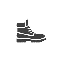 Hiking Boot Vector Icon. Filled Flat Sign For Mobile Concept And Web Design. Mens Boots Shoe Glyph Icon. Symbol, Logo Illustration. Vector Graphics