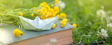 Old Book, Paper Boat And Yellow Flower Bouquet On A Green Grass Against Beautiful Sunset Lights With Sun Ray, Selective Focus, Study, Relax Dreaming Concept, Copy Space