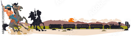 Wild west world. Robbery of train. Cowboy on horse. Wallpaper Mural