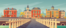 Bridge Over Rivet And Promenade In Old European Town. Vector Cartoon Cityscape With Old Lake Quay, Empty Seafront With Retro Architecture, Autumn Trees And Pier