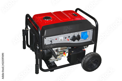 Obraz Small portable gasoline electric generator isolated on a white background - fototapety do salonu