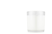 White Candle In Transparent Glass Isolated, Mock Up For Branding Identity Of Product, Advertising, Presentation, Design Of Packing.
