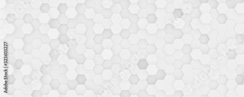 Fototapeta 3d white random hexagon background obraz