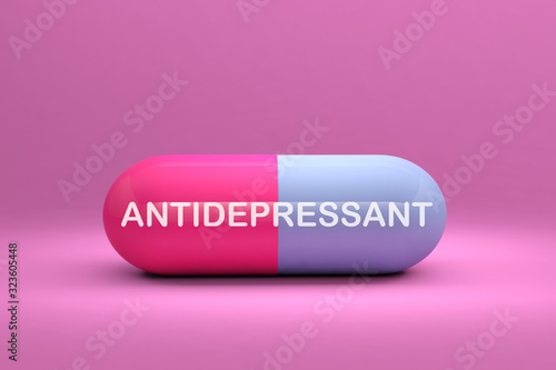 antidepressant capsule pill medication 3D illustration Canvas Print