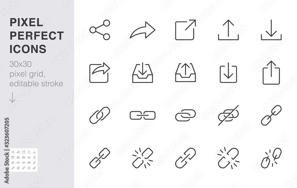 Fototapeta Share button line icon set. Link, broken hyperlink, download, publish, attach chain minimal vector illustrations. Simple outline signs for web application url. 30x30 Pixel Perfect. Editable Strokes